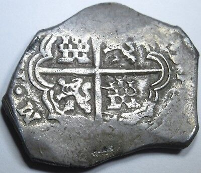 1600's Spanish Silver 4 Reales Piece of 8 Real Antique Pirate Treasure Cob Coin