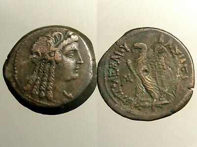 Ptolemy VI AE29 Diobol______PORTRAIT OF CLEOPATRA I AS ISIS______Ancient Egypt