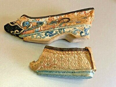 2 X Antique Chinese Embroidered Lotus Shoe Slipper Bound Feet One With Bell