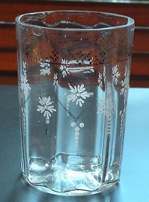 "ZEN403 ANTIQUE VICTORIAN ENAMEL GLASS TUMBLER, small flake on rim 4"" h"