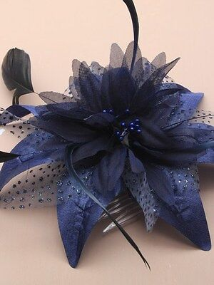 Dark Navy Flower & Feather Fascinator On A Clear Comb.