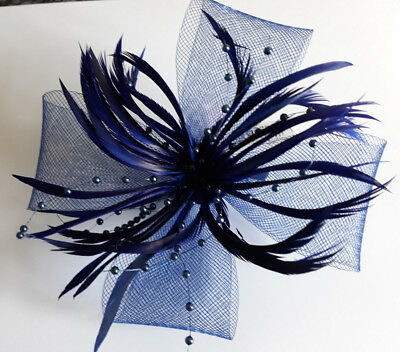 Navy Large Looped Net & Feather Fascinator On A Forked Clip And Brooch Pin.