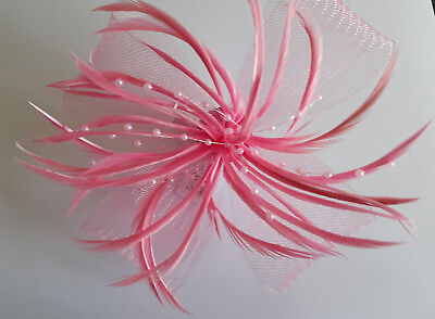 Pink Large Looped Net & Feather Fascinator On A Forked Clip And Brooch Pin.
