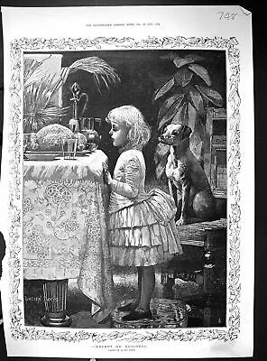 Old Hampton Sons Furniture 1885 Little Girl Pet Dog Dinner Table Food 19th