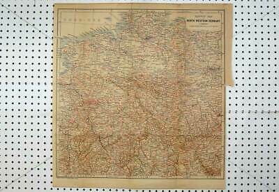 Old Antique Print Colour Map Railway North Western Germany Leipzig Berlin