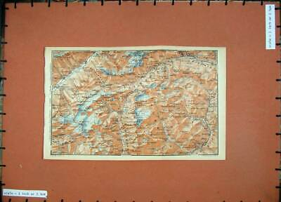 Old Antique Print 1905 Colour Map Switzerland Oberwald Airolo Mountains 20th