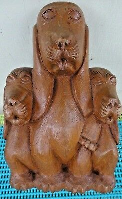 Primitive Folk Art Carved Wood Sculpture~Basset Hound Dogs~Mom w/2 Puppies