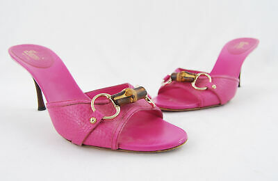 9835edf02a6 Gucci Pink Pebbled Leather Bamboo Horsebit Open Toe Sandal Heel Shoe Size  9.5