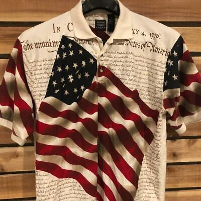 d3926546 Mens Cotton Traders USA American Flag Constitution Print S/S Polo Shirt  Golf XL
