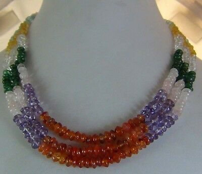 295Cts NATURAL AQUAMARINE CITRINE CARNELIAN AMETHYST  BEADS NECKLACE