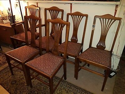 Beautiful Set Of 6 Solid Wooden vintage Dining Kitchen Chairs 2 Carvers. Courier