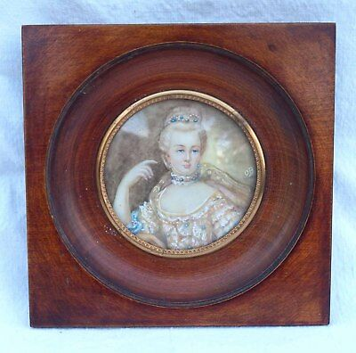 Young Lady French Framed Miniature Painting Signed OB