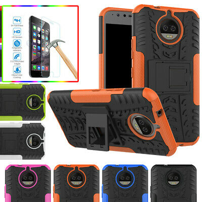 Shockproof Heavy Duty Stand Case Temered Glass Film For Moto Z3 Play G5S E5 Plus
