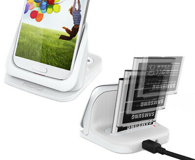 KiDiGi WHITE BATTERY CHARGER CRADLE THIN DOCK 3.5mm AUDIO FOR SAMSUNG GALAXY S4