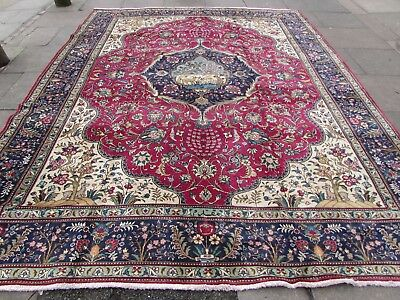 Old Hand Made Traditional Persian Rug Oriental Wool Red Large Carpet 372x292cm