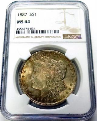 1887 MORGAN SILVER DOLLAR NGC MS64 w/BEAUTIFUL OBVERSE TONING! #034