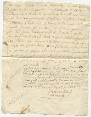 18th Century France Letter Jewish Merchant Debt Signed French Hebrew Carpentras