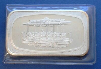 Cable Car / Trolley...cleveland City Cable Rail...1 Oz. .999 Fine Silver Art Bar