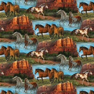 Wild Wings Rivers Edge Horse Scenic Horses in Mountain Cotton Fabric by the Yard