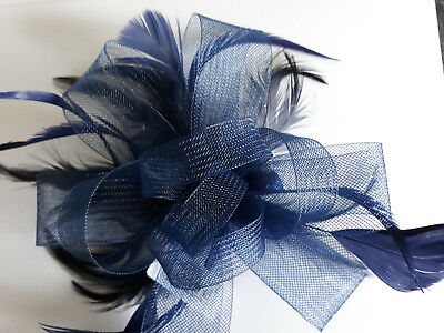 Navy Looped Net Ribbon and Feather Fascinator on a Clear Comb.