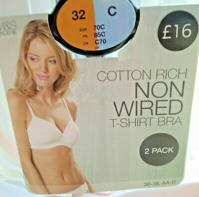 Bnwt M & S 2 Pack Bras Size 32C Padded 1 White 1 Pale Pink T Shirt Cotton Rich
