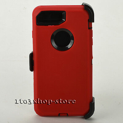 iPhone 7 & iPhone 8 Hard Case w/Holster Belt Clip Fits Defender - Red / Black