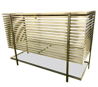 Mid Century Modern Style Laser Cut Steel Glass And Chrome Dry Bar