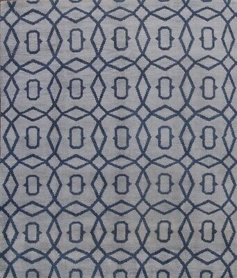 Thick Pile Hand Knotted Blue Modern 8x10 Moroccan Oriental Area Rug Wool Carpet