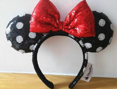 Disney Parks Minnie Mouse Sequined Black White Polka Dot Red Bow Ears Headband
