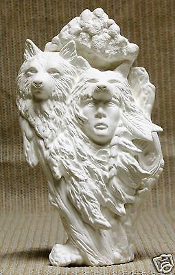 Ceramic Bisque Knotted Wood Wolf Brave Kimple Mold 2361 U-Paint Ready To Paint