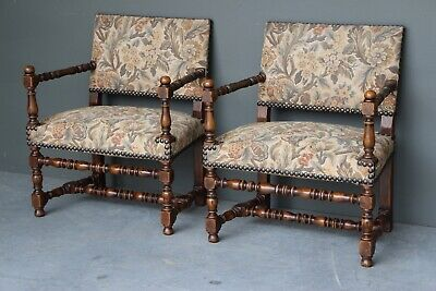 Pair big French Louis XIII fireside fauteuil armchairs vintage tapestry carved