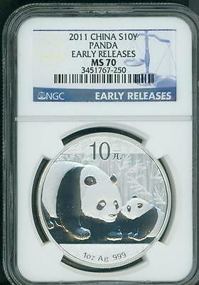 2011 CHINESE SILVER PANDA NGC MS70 CHINA 10Y EARLY RELEASES ER 10-Yn Yuan S10Y