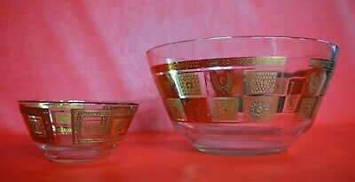 Georges Briard Mid-Century Chip and Dip Glass Bowl Set GOLD 1960s vintage SUN