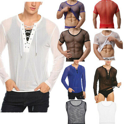 Mens Sexy Fishnet Mesh Tops T-shirt Lace Up Shirts Hollow Out Clubwear Costumes