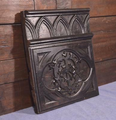 French Antique Gothic Revival Wood Panel/Plaque