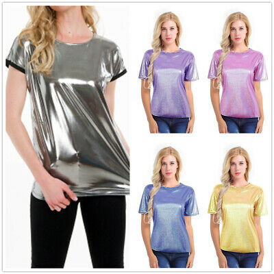 Women Sparkly Shiny Metallic Casual Summer Short Sleeves T-Shirt Blouse Tops Tee