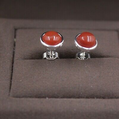 Pure S925 Silver Stud Earrings Red Agate Small Round Smooth Women's Earrings
