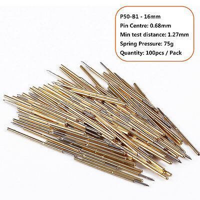 100pcs/Pack Spring Pressure Test Probe Pogo Pin P50-B1 Dia 0.68mm Length 16mm GB