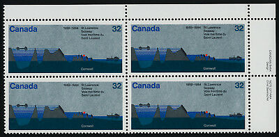 Canada 1015 TR Plate Block MNH St Lawrence Seaway, Ship