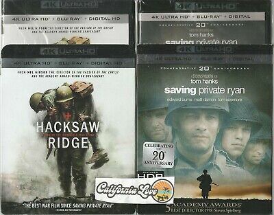 Saving Private Ryan + Hacksaw Ridge 4K Ultra Hd + Blu-Ray Combo✔Mint✔ No Digital