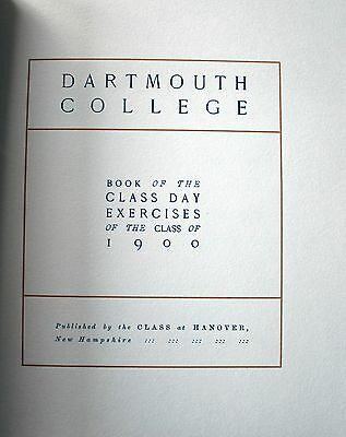 1900 DARTMOUTH COLLEGE Class Day Exercises IVY LEAGUE Hanover New Hampshire NH