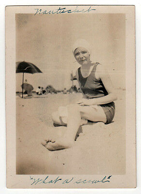 1930s NANTUCKET ISLAND PHOTOGRAPH Beach Massachusetts REAL PHOTO Bathing Beauty