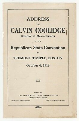 Rare 1919 Gouverneur Calvin Coolidge Massachusetts Politique Livret Boston Masse