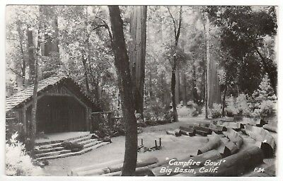 BIG BASIN CALIFORNIA RPPC Real Photo Postcard ZAN STARK Campfire Bowl REDWOODS