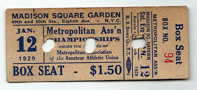 1929 Madison Square Garden Nyc New York City Biglietto Matrice Viti Piastra