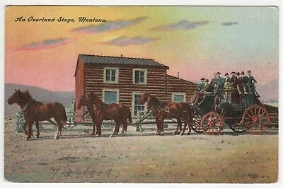 1909 Overland Stagecoach Montana Pc Tarjeta Postal Stage Occidental Oeste Cowboy