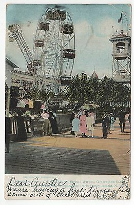 Coney Island Pc Postkarte New York City Nyc Ny Spaß Park Glockenschlag Riesenrad
