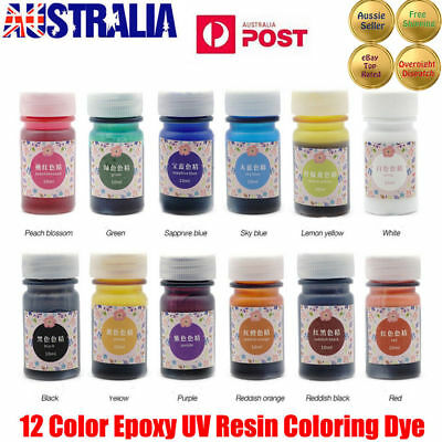 12 Bottles 12 Color Epoxy UV Resin Coloring Dye Colorant Resin Pigment Craft CO