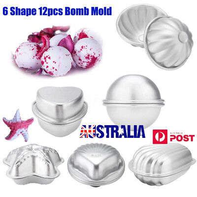 6 Shape 12 Pcs Metal Aluminum Bath Bomb Molds Moulds DIY Homemade Crafting CO