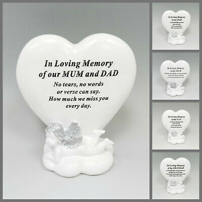 Remembrance White Feather Memorial Heart Shaped Freestanding Acrylic Plaque